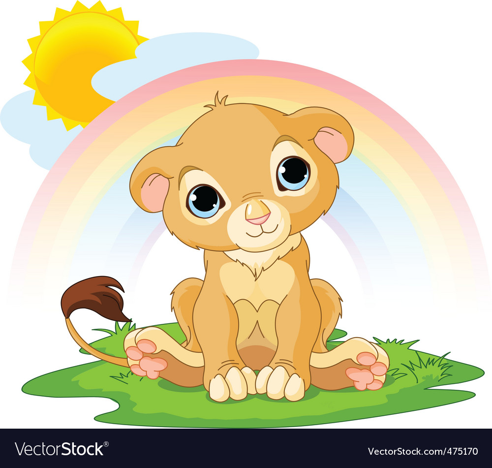 Cartoon lion cub