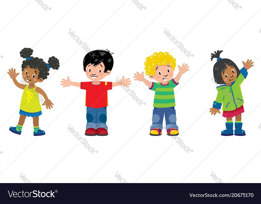 Children set of 4 kids smiling boys and girls