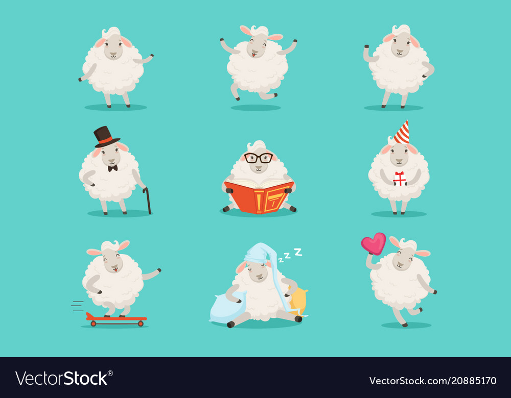 Cute little sheep cartoon characters set for label