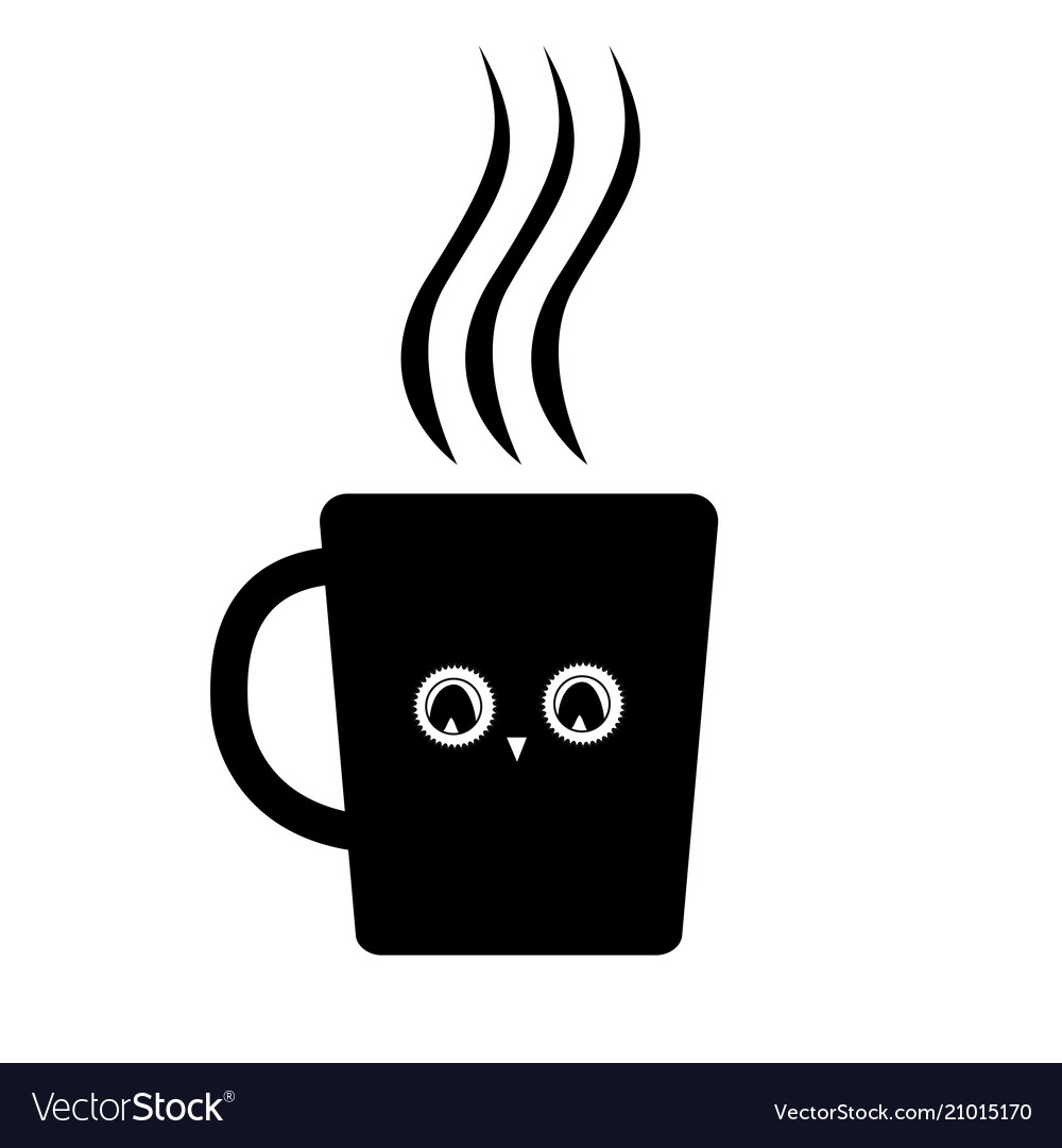 Cute mug with owl eyes black icon