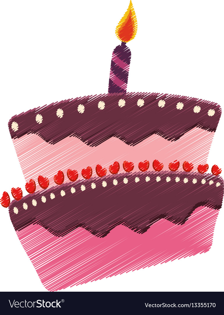 Drawing Birthday Cake Candle Celebration Vector Image On VectorStock