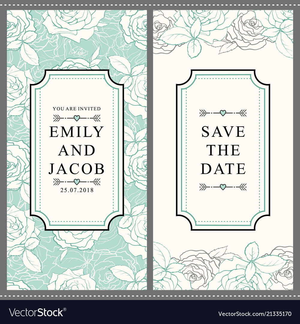 Hand drawn tulip save the date pattern set