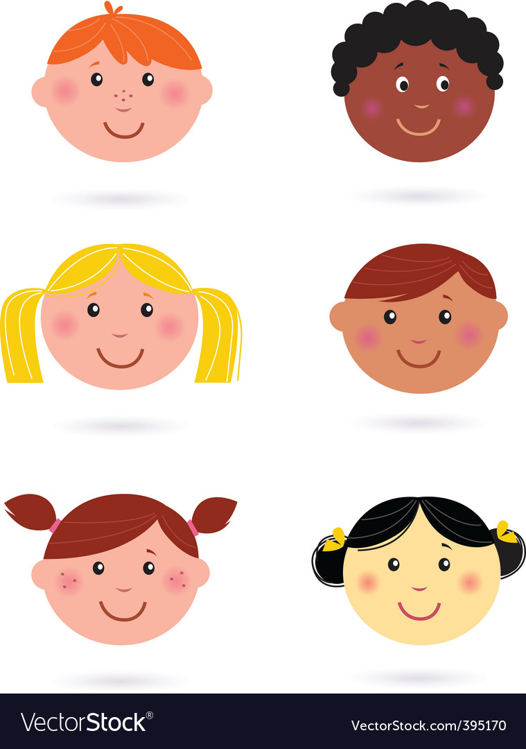 Multicultural kids' heads