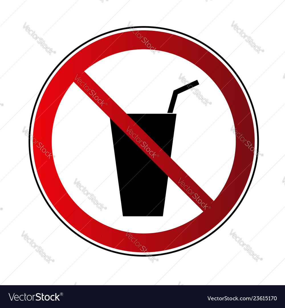 No drink sign prohibited sign beverage isolated