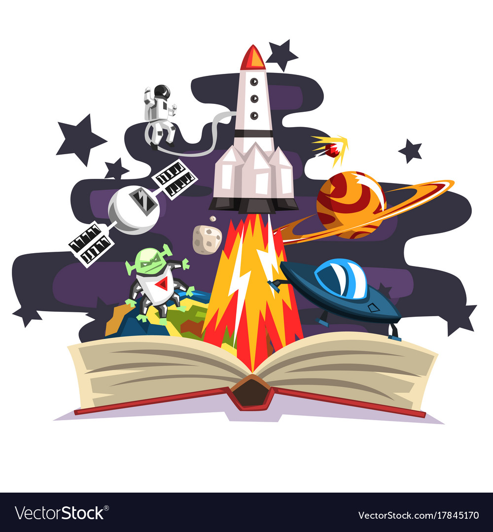 Open book with rocket astronaut planets stars
