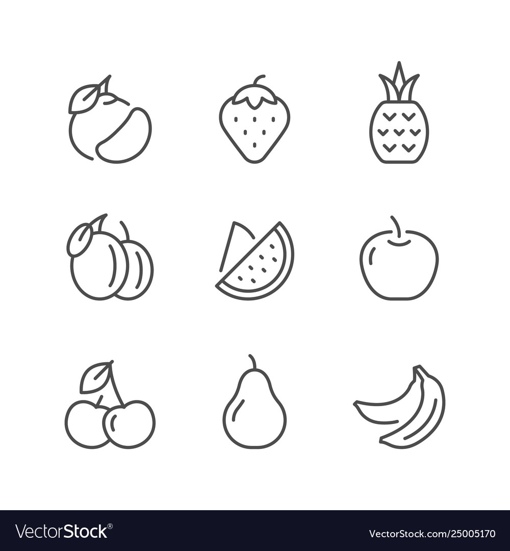 Set line icons fruit