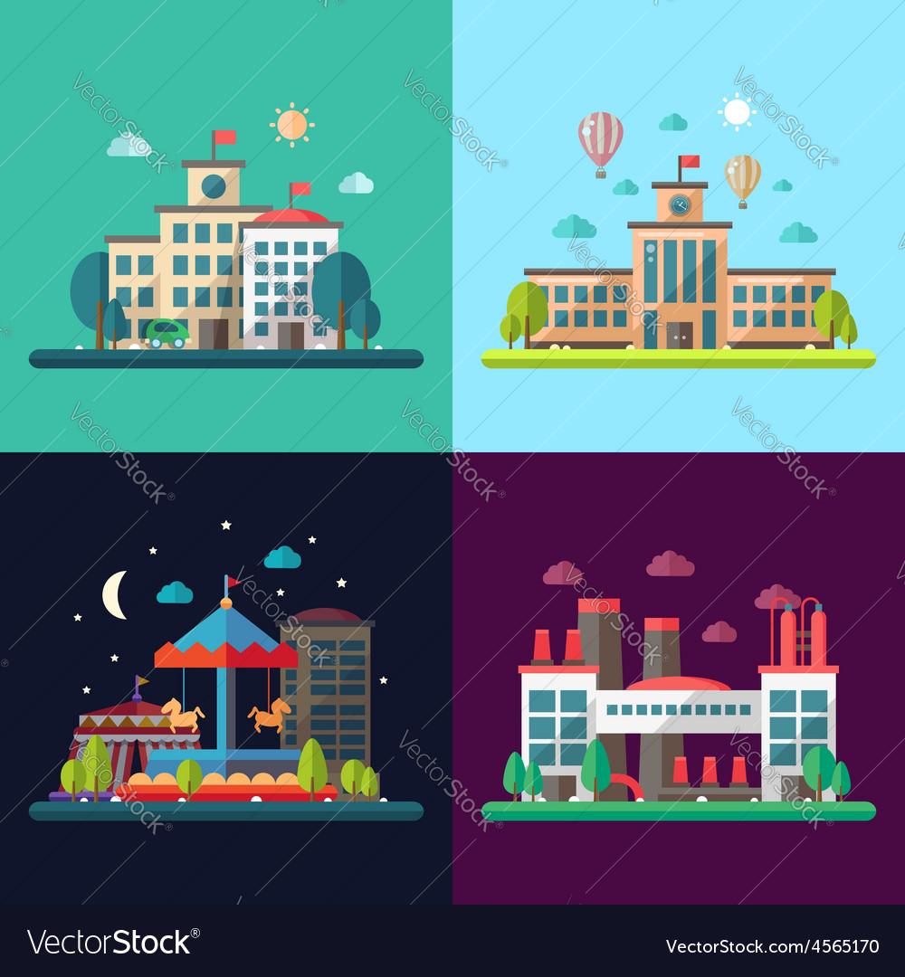 Set of modern flat design conceptual city
