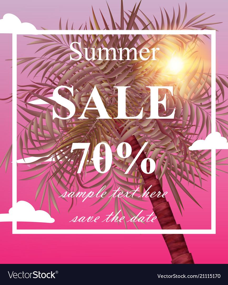 Summer sale card palm tree pink