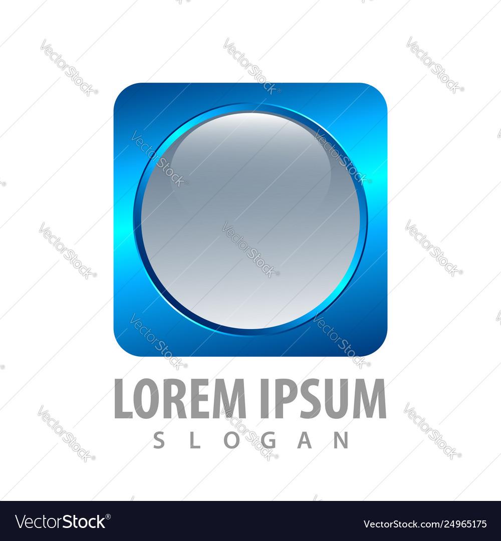 3d round blue square button concept design symbol
