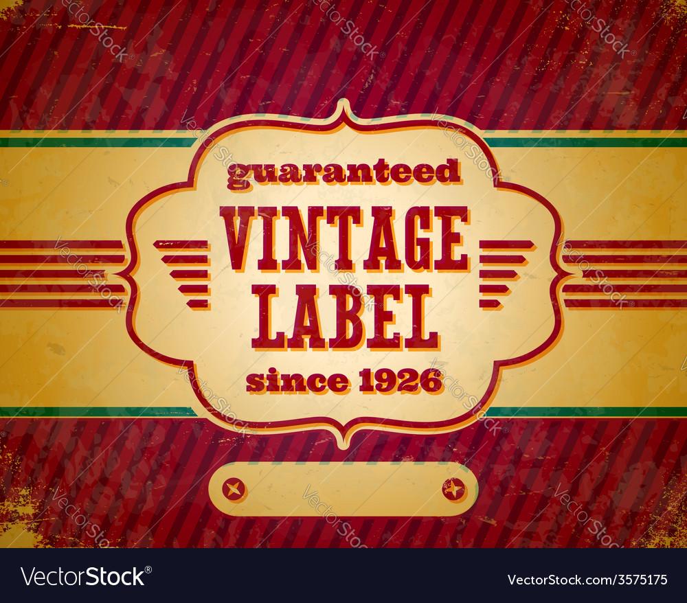 Aged vintage label