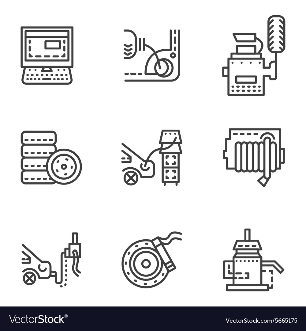 Car service simple line icons