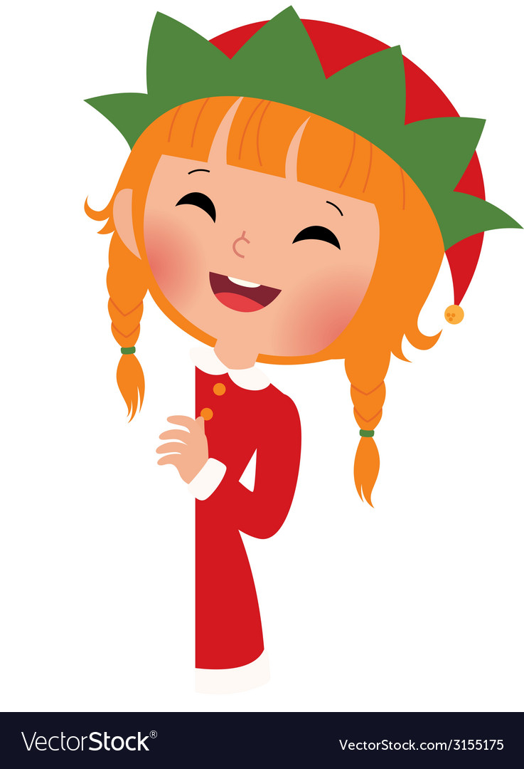 Christmas elf looking from behind the placard