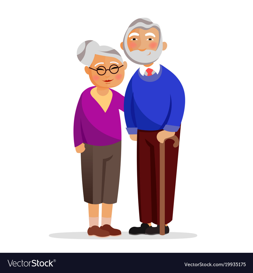 Happy granny and grandpa standing together and