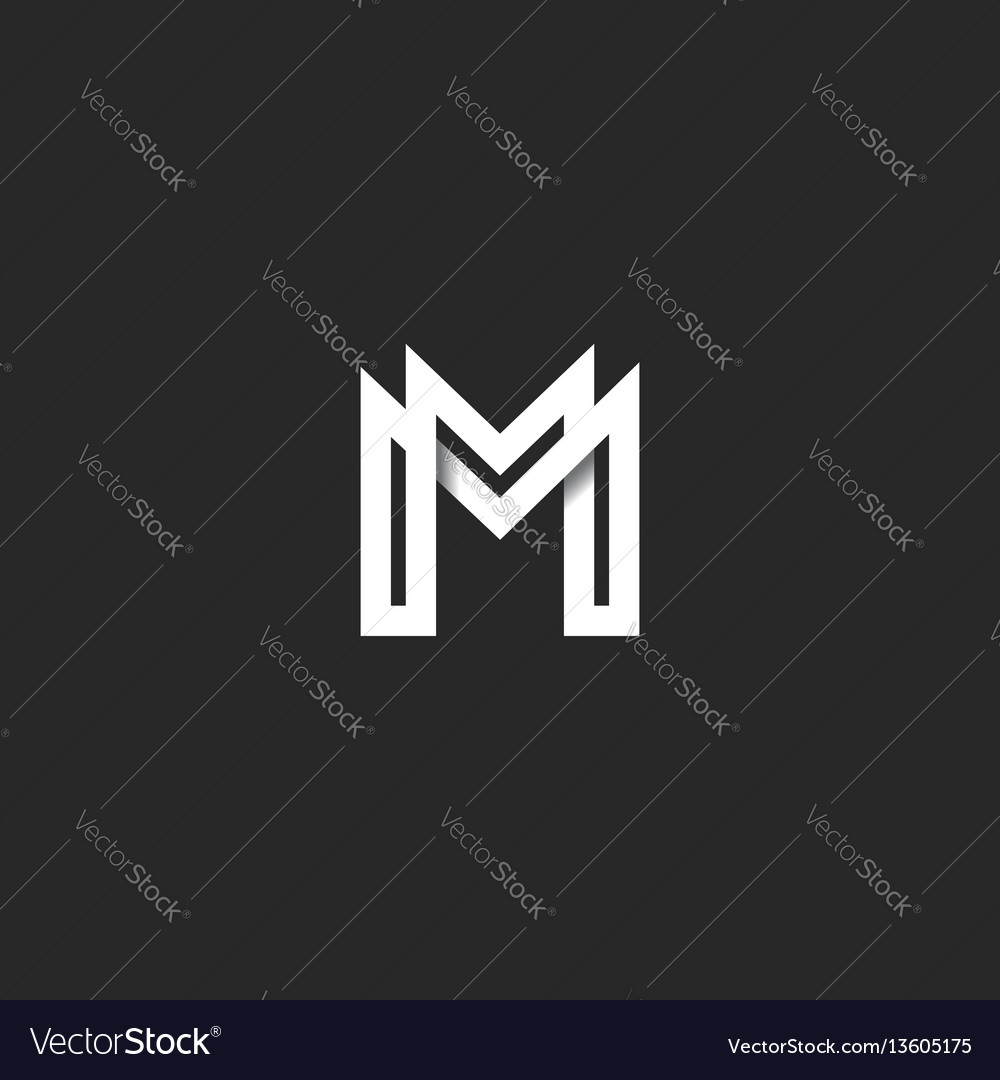 Letter m logo monogram overlapping line mark mm vector image