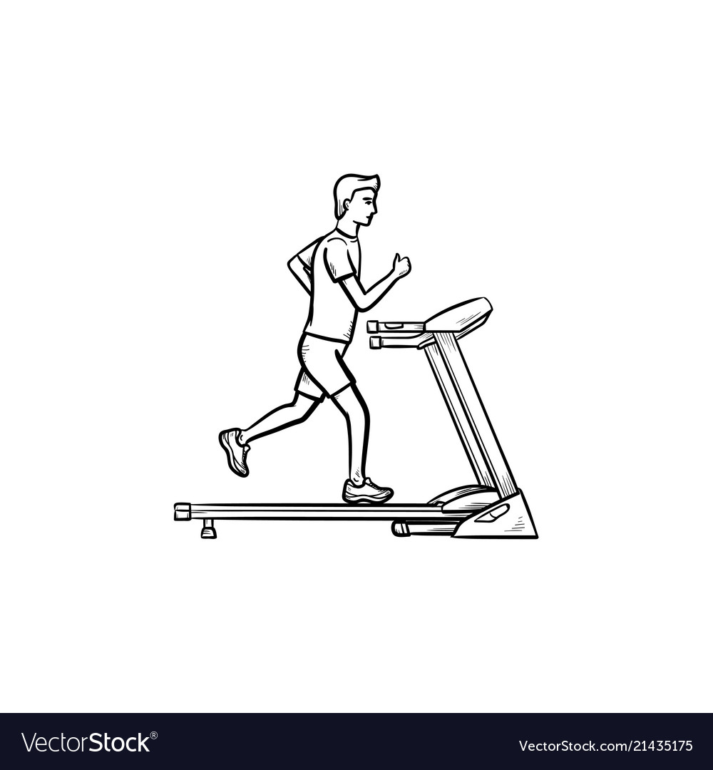 Man on treadmill hand drawn outline doodle icon