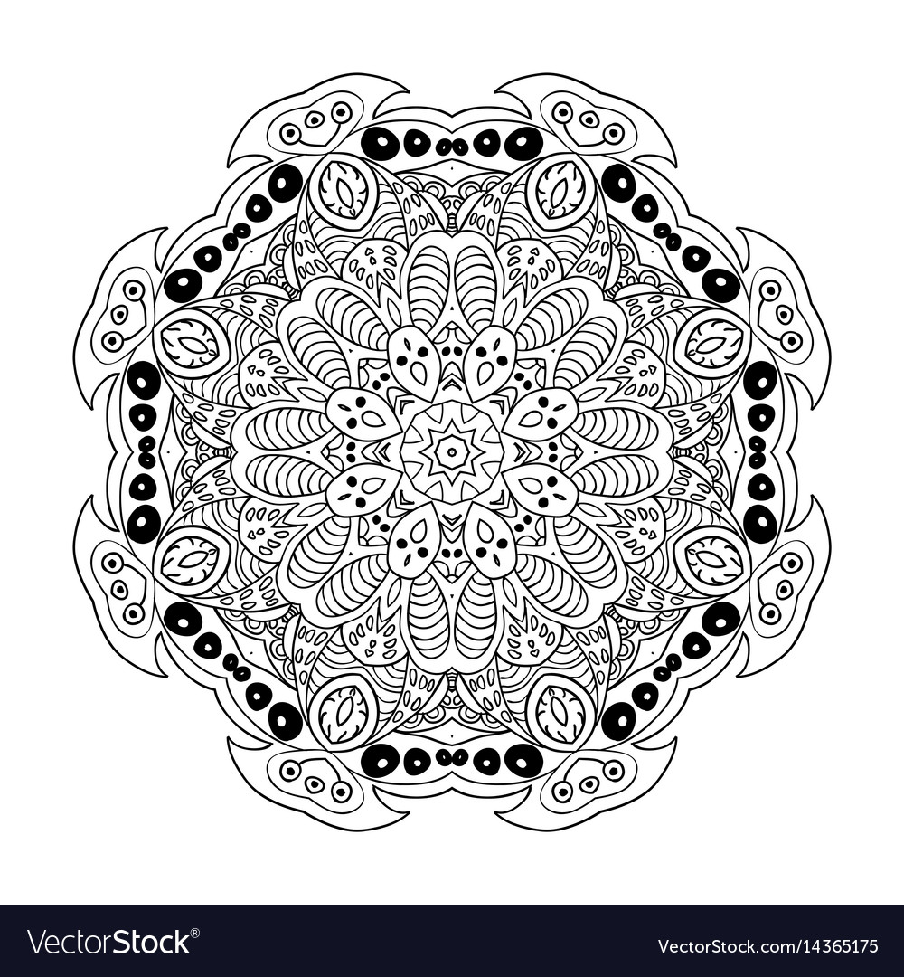 Mandala doodle drawing floral ornament ethnic