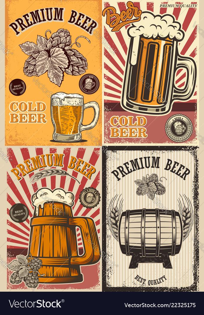 Set of beer pub posters design element for poster