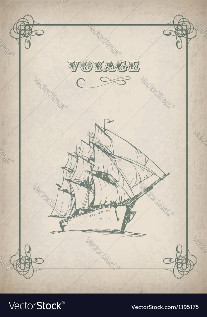 Vintage sailboat retro border drawing on old paper