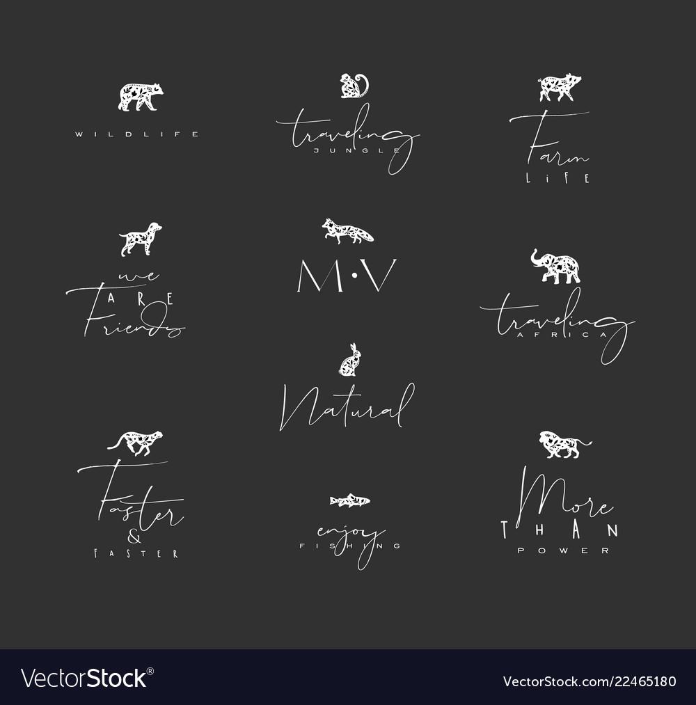 Animals mini floral graphic signs black