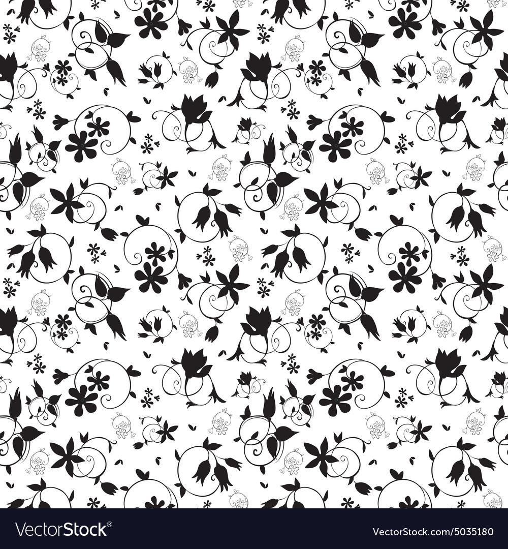 Black White Swirl Floral Texture Seamless Vector Image