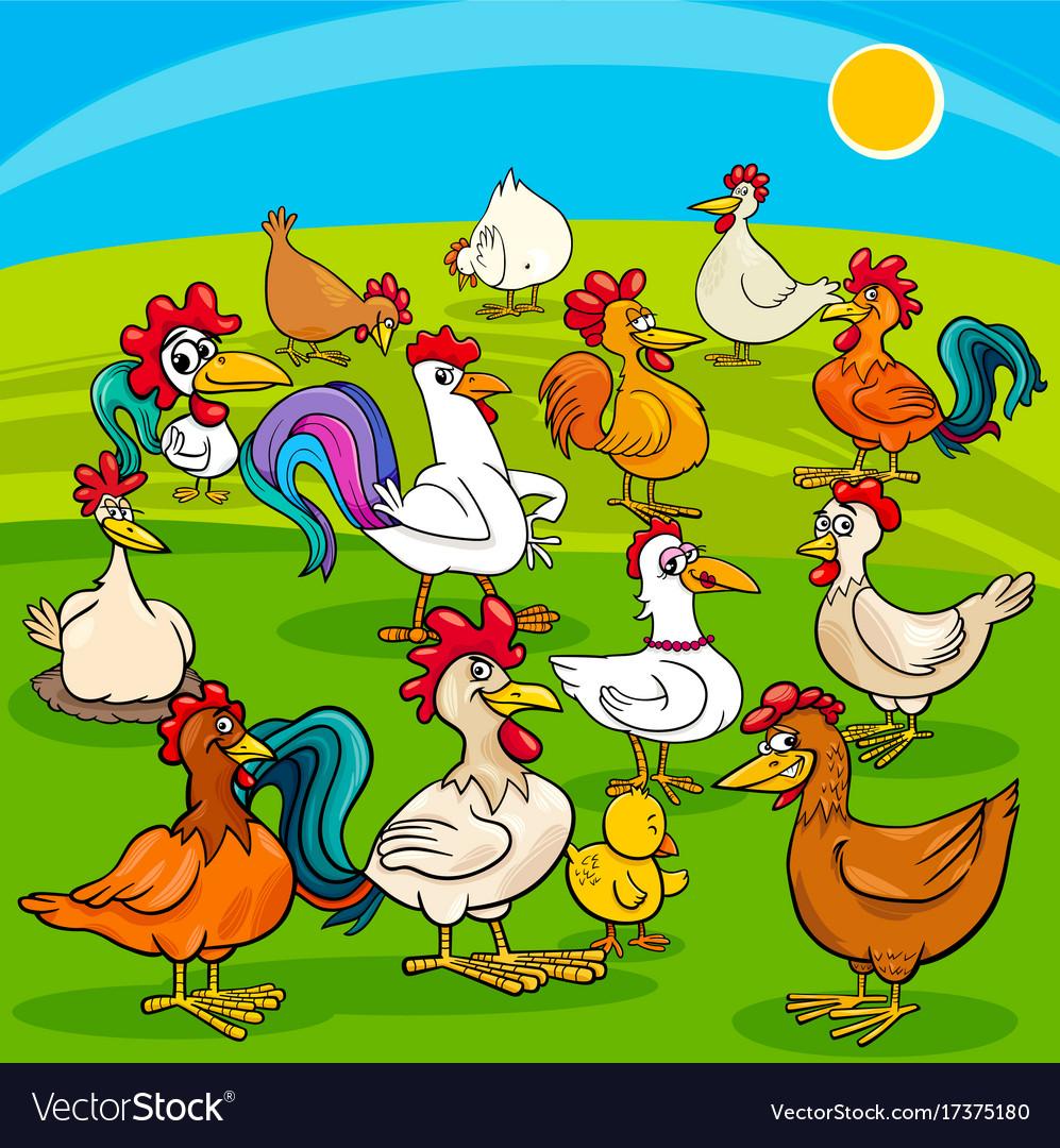 Cartoon chickens farm animals group vector image