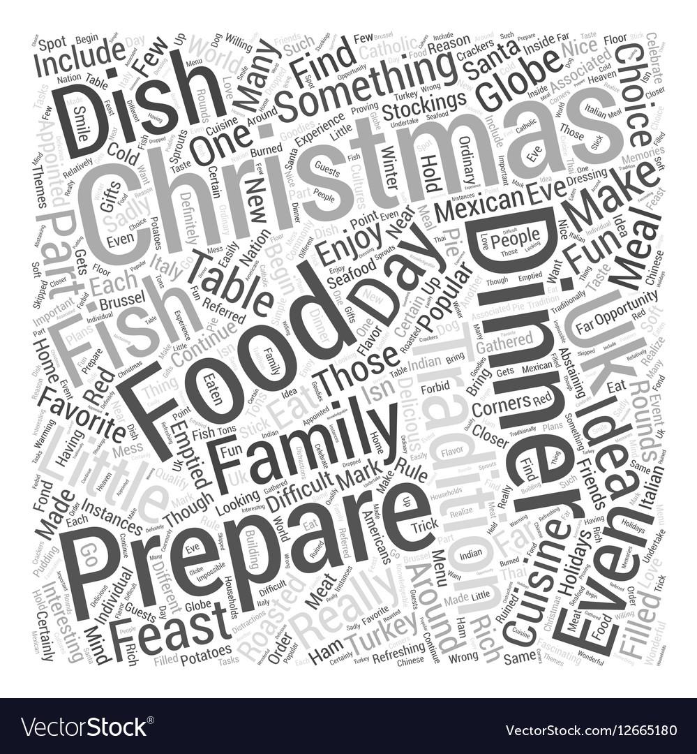 Christmas Dinner Ideas Word Cloud Concept Vector Image