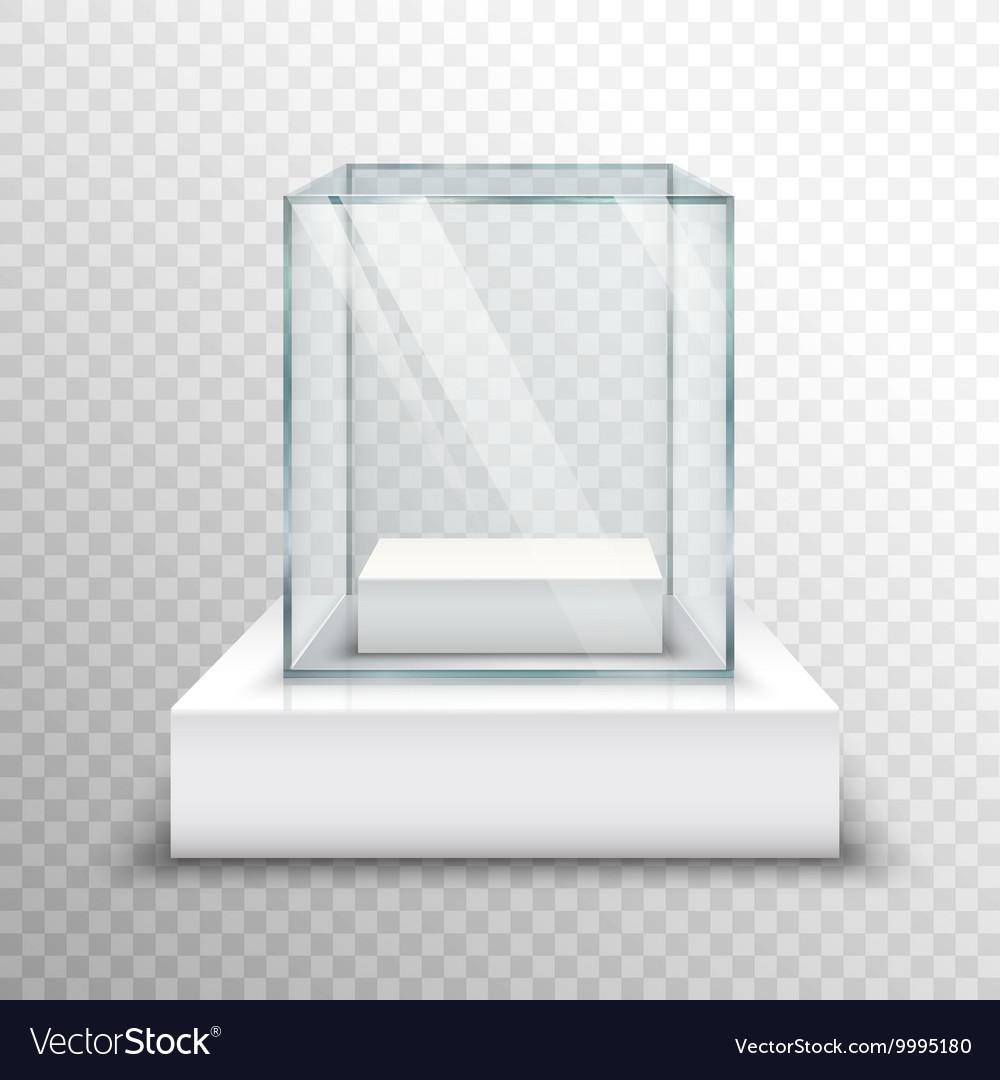 Empty Glass Showcase Transparent vector image