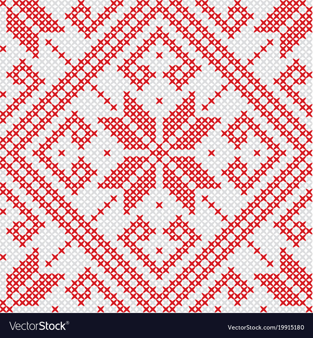 Knitted red seamless pattern vector image