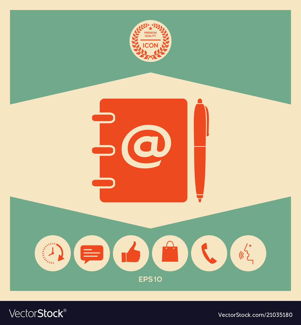 Notebook Address Phone Book With Email Symbol Vector Image