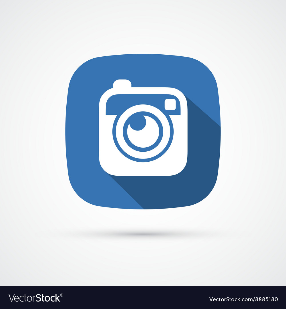 Photo or hipster camera flat icon with long shadow