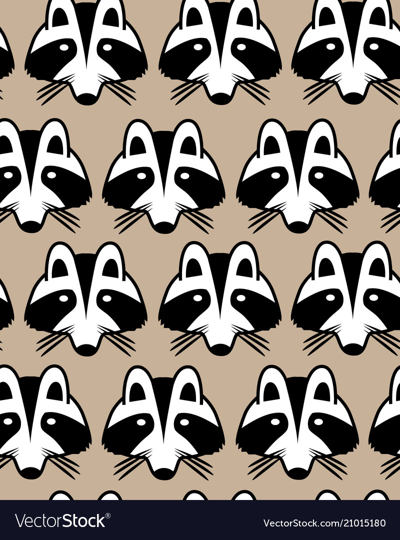 Seamless background with raccoon muzzles