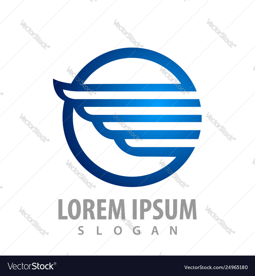 Shiny blue circle wing concept design symbol