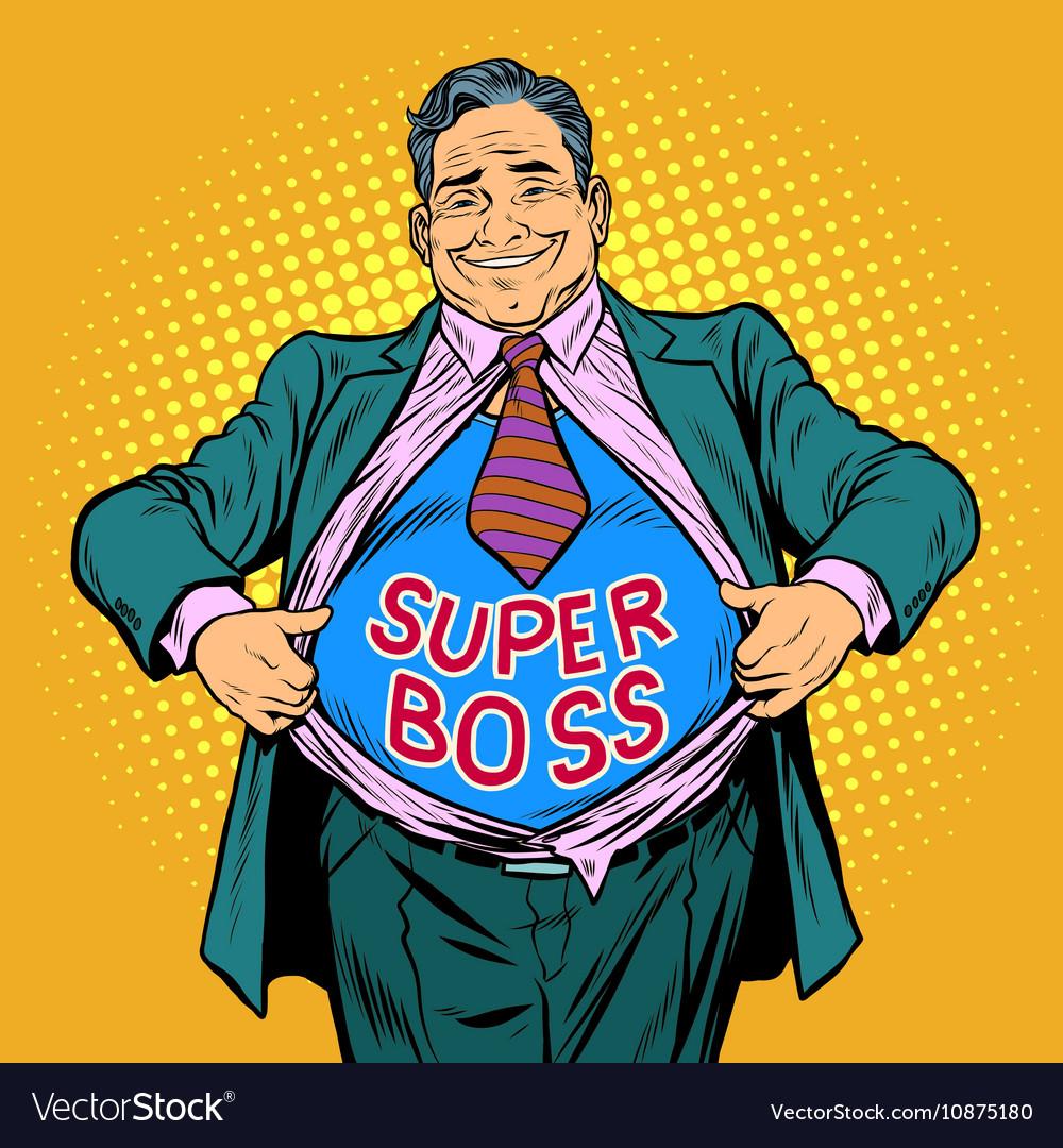 Super boss a fat man businessman hero vector image
