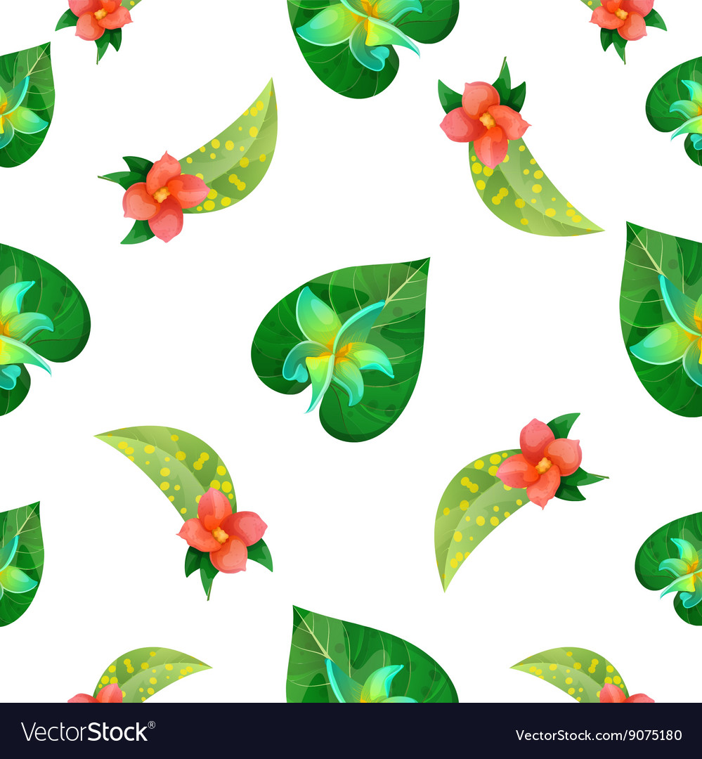 Tropical Flowers Floral Background Seamless