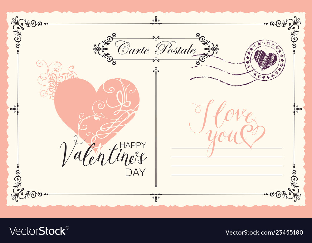 Vintage valentine card with heart and inscriptions