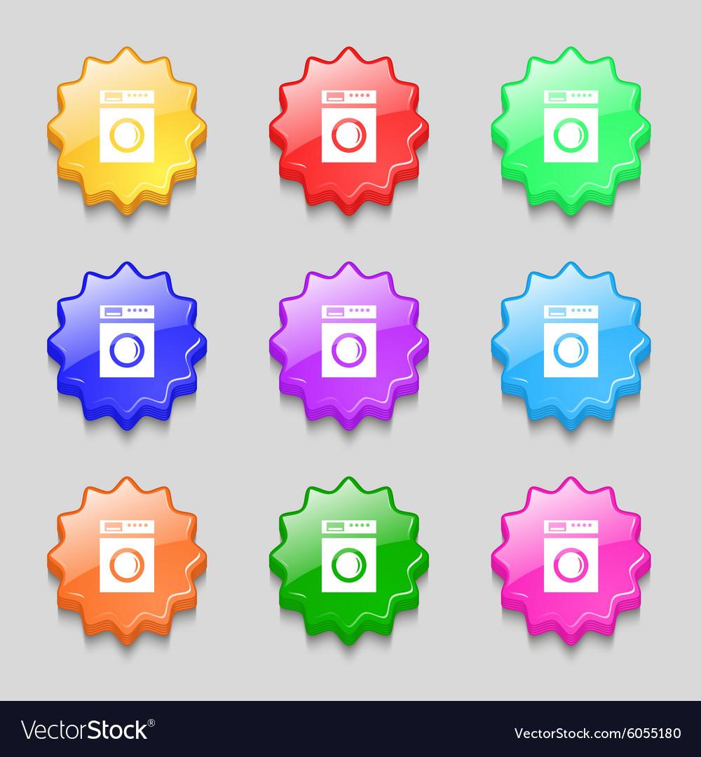Washing Machine Icon Sign Symbols On Nine Wavy Vector Image