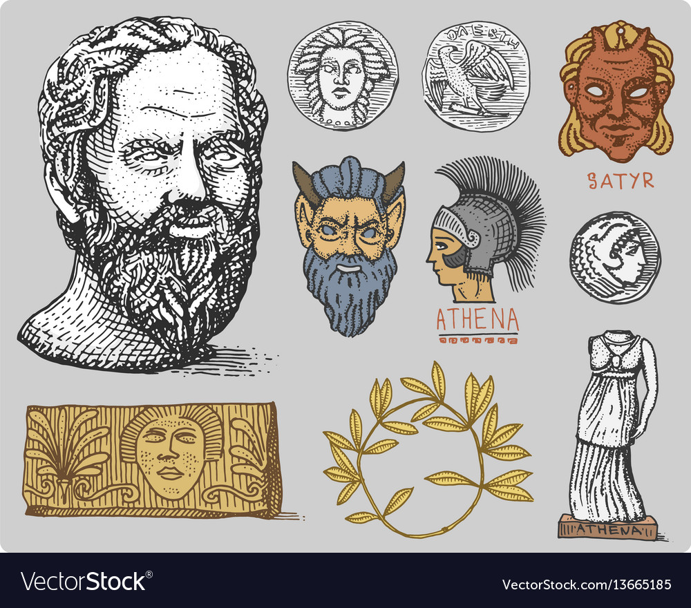 Ancient greece antique symbols socrates head