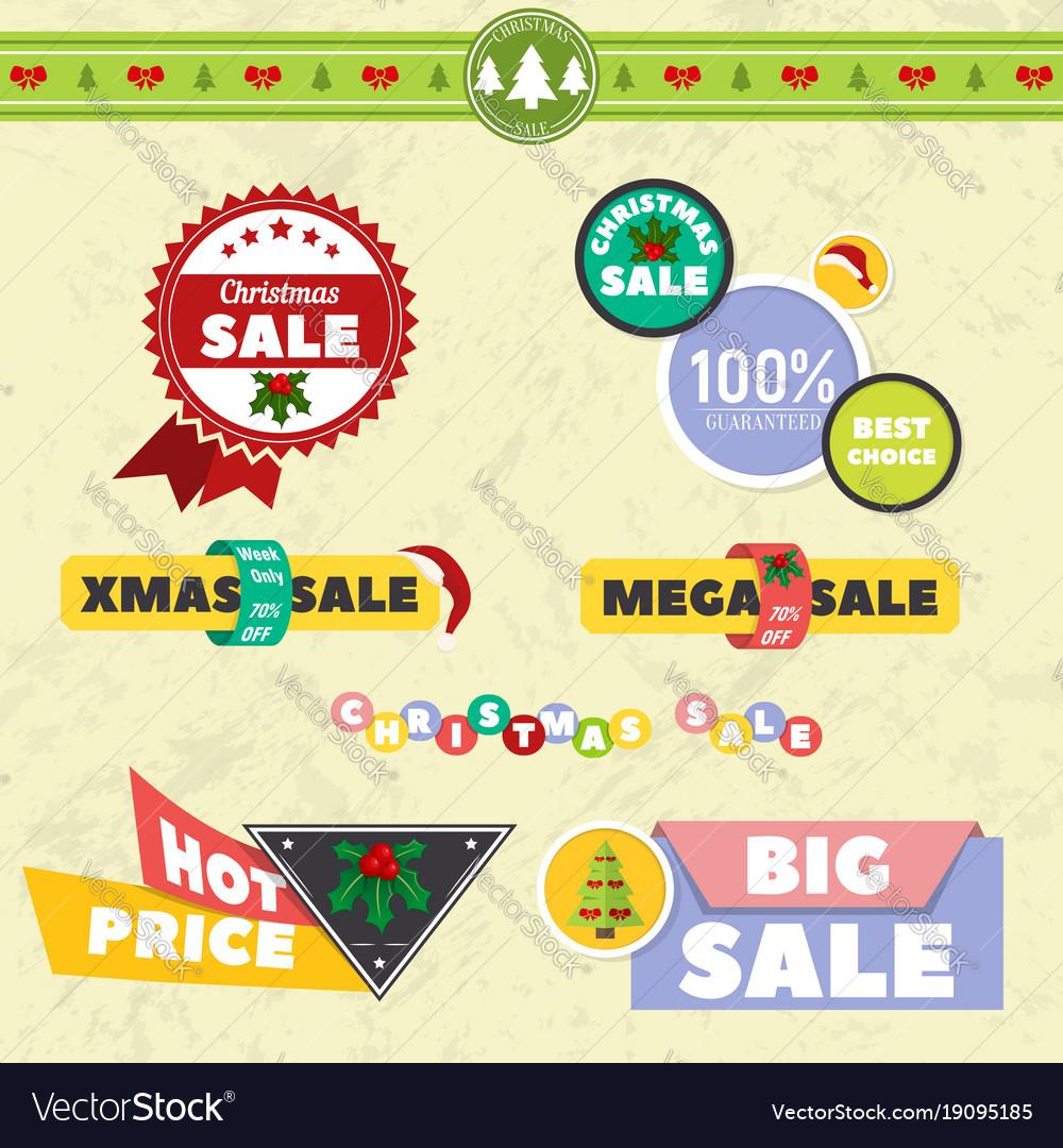 big sale christmas ball sticker tags with sale vector image