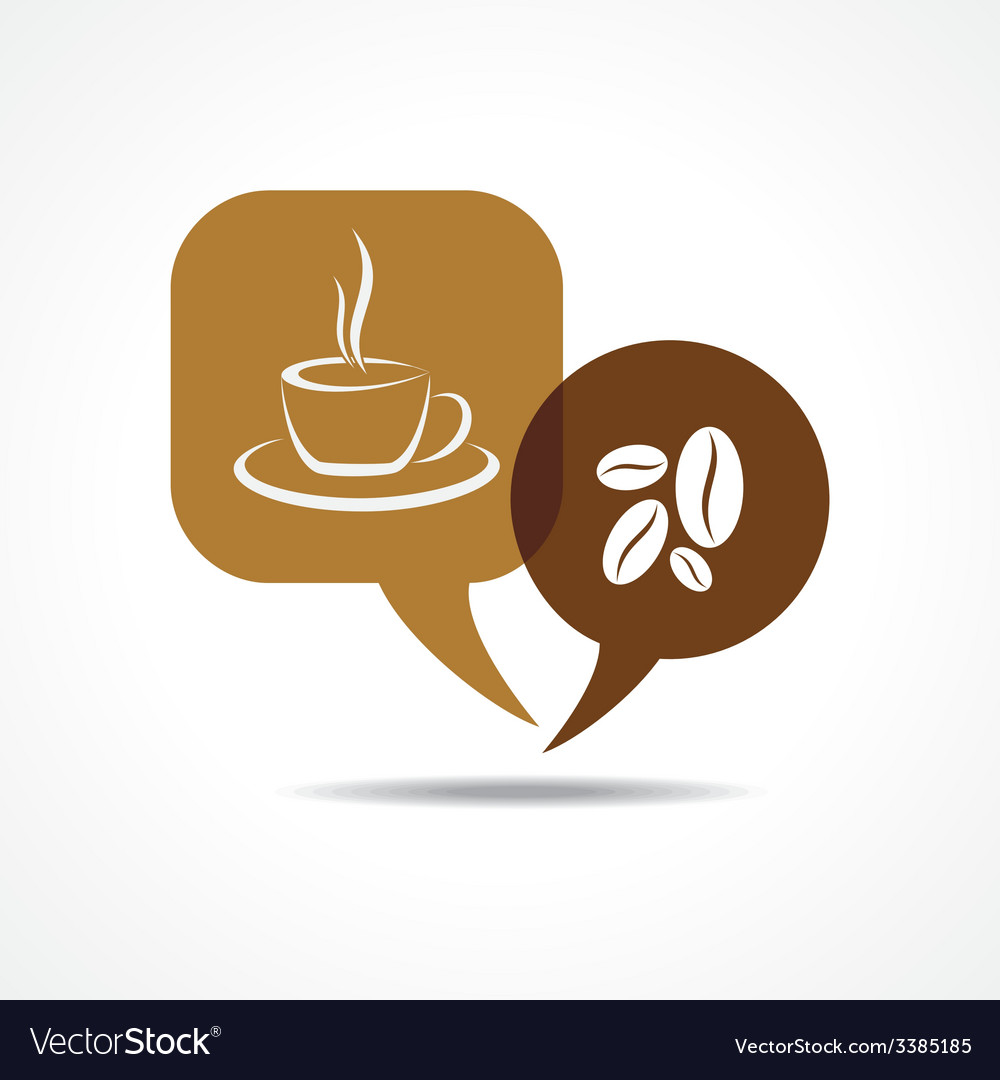 Coffee cup and beans in message bubble
