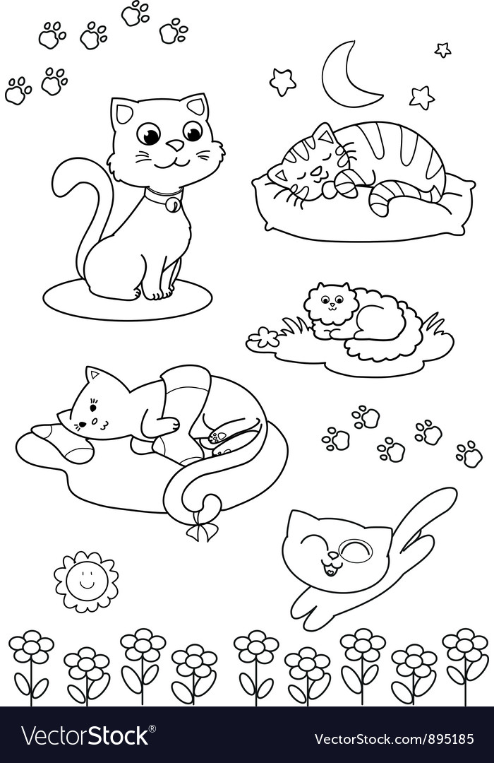 Cute cartoon cats coloring page