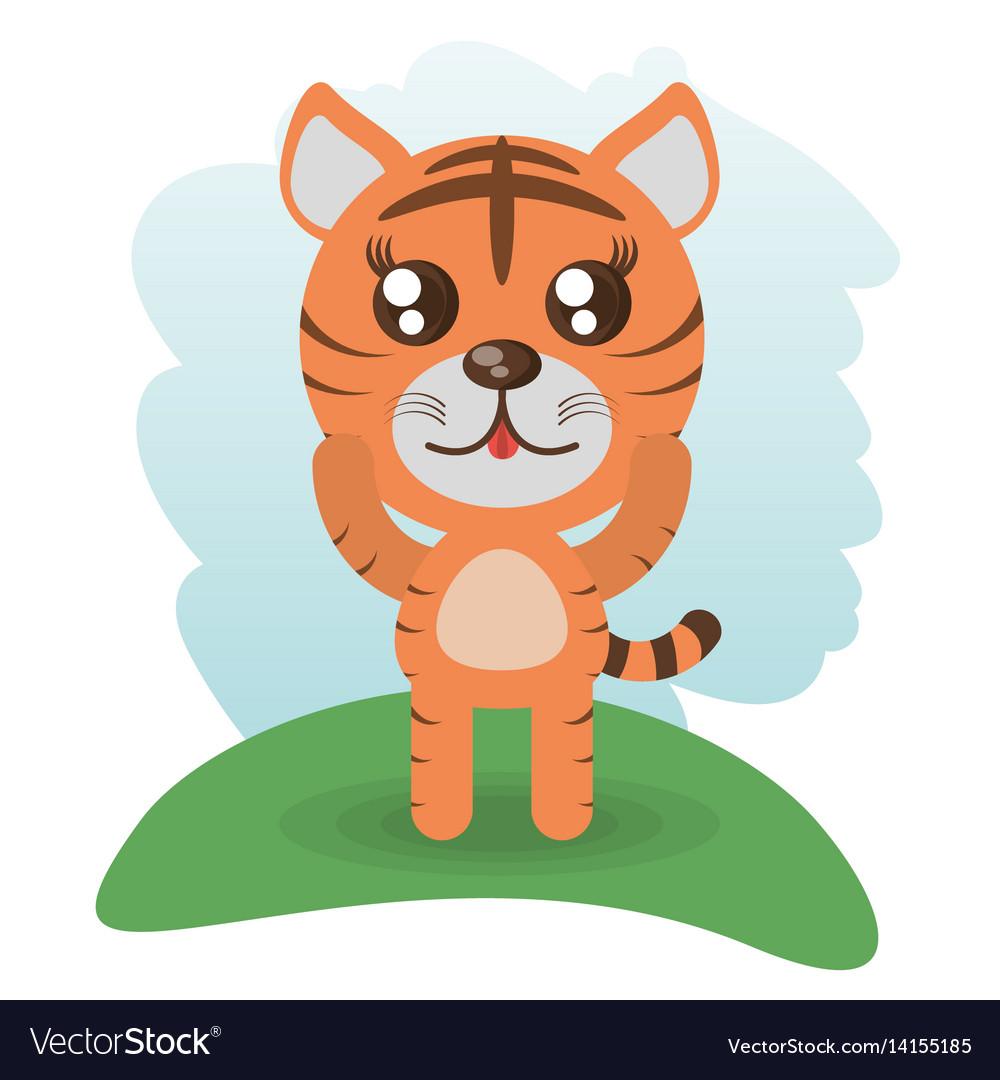 Cute tiger animal wildlife vector image