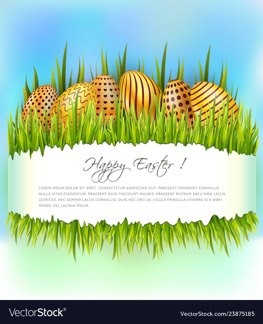 Easter background with row of golden decorated