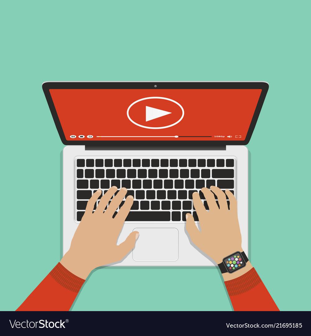 Flat design concepts online video flat