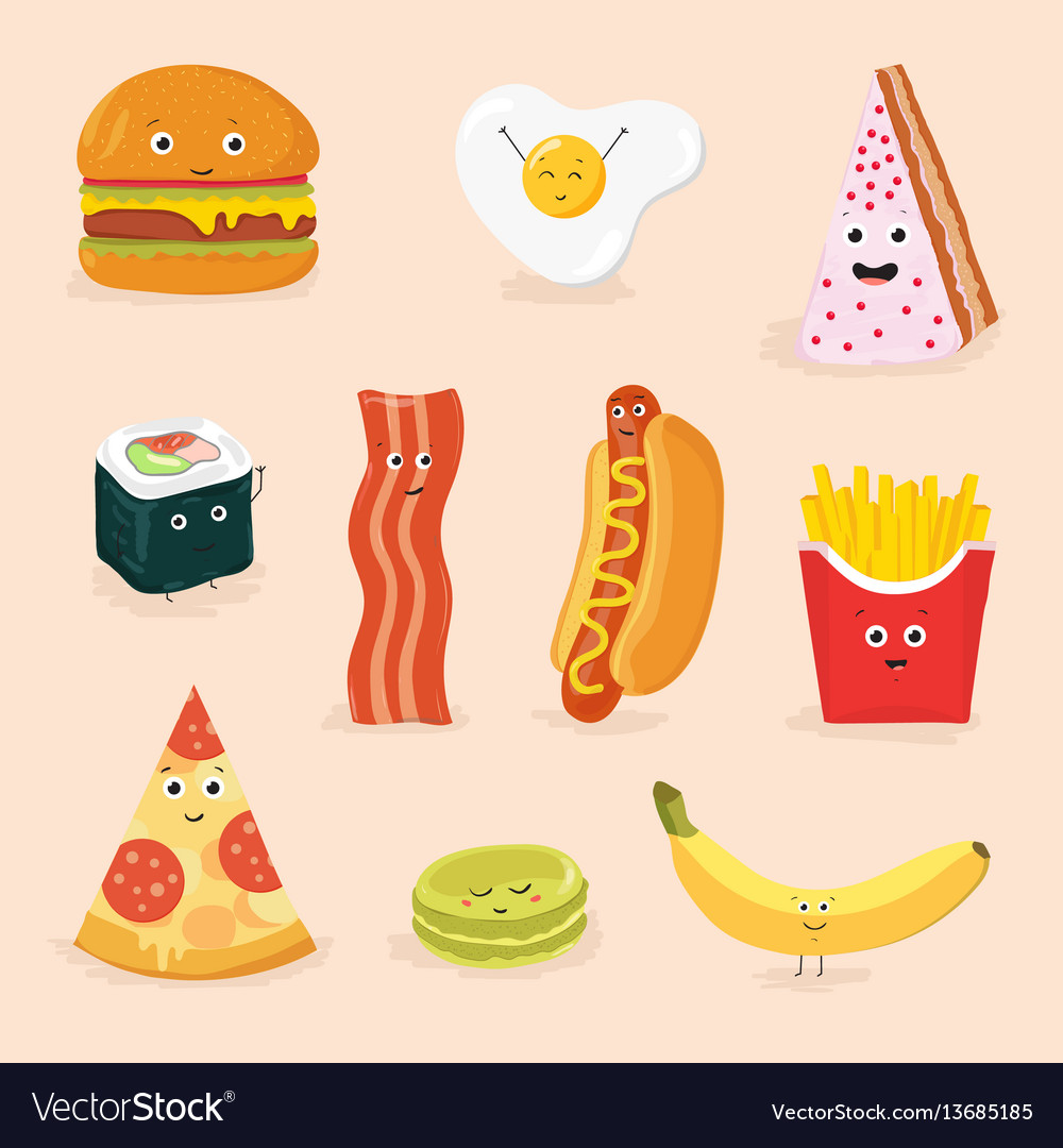 Funny food cartoon characters isolated