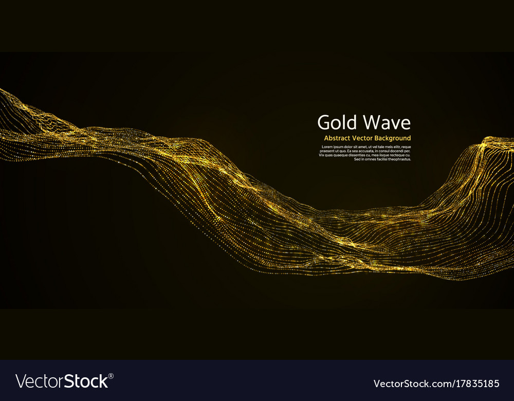 Gold Striped Abstract Wave On Dark Background