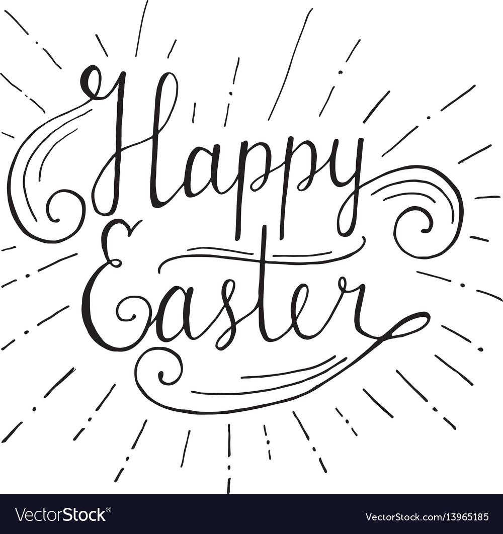 Happy easter lettering hand written easter vector image