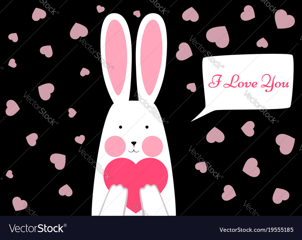 Happy rabbit - valentene s day vector image