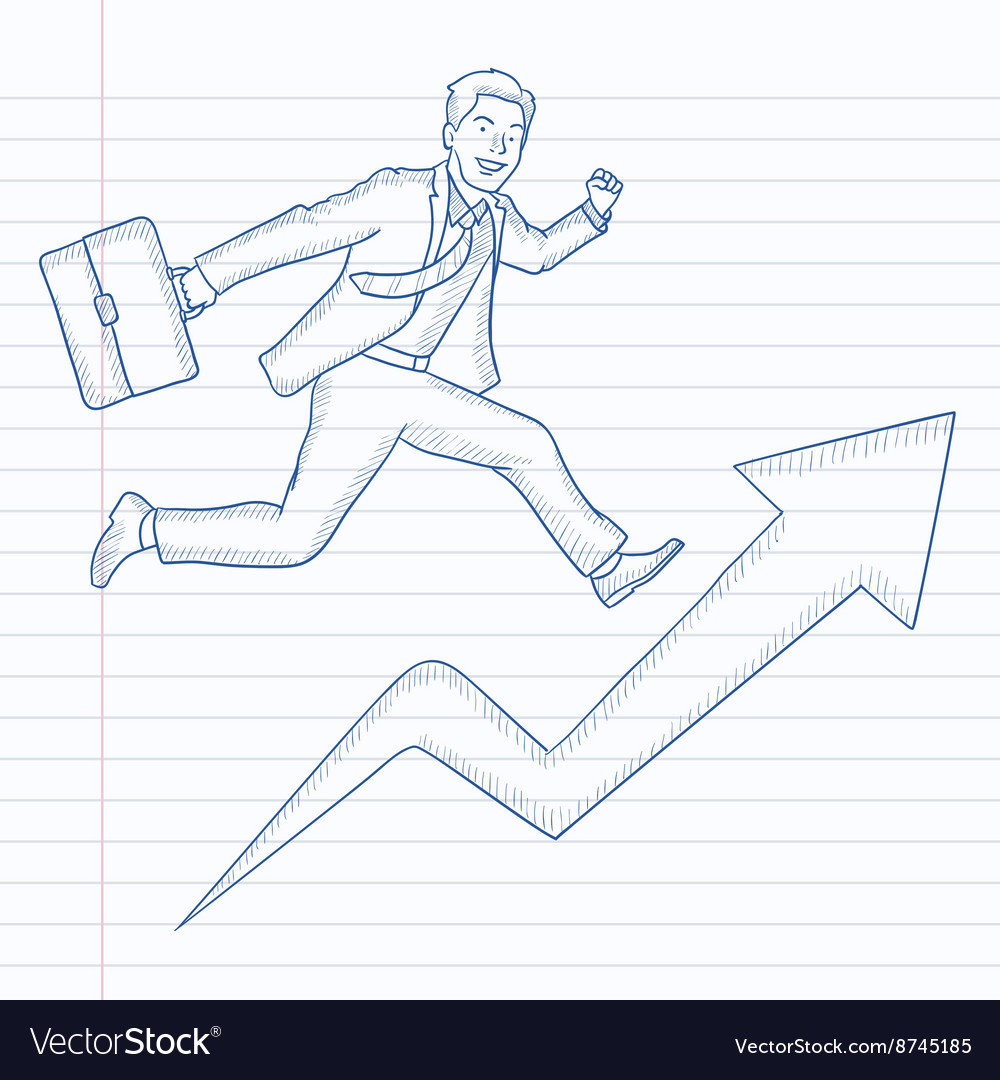 Man running on arrow going upwards
