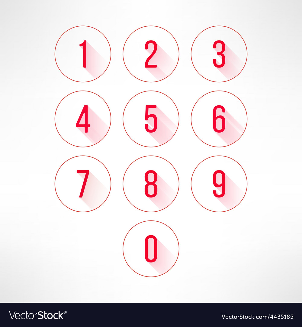 Numbers in circles set in modern flat design