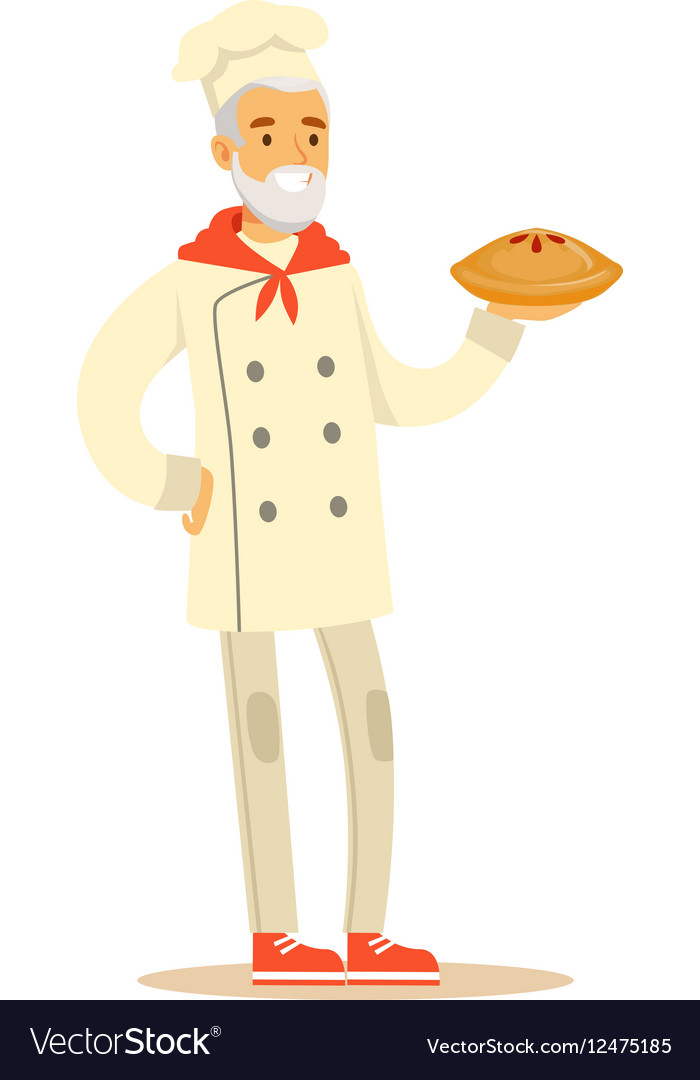 Old Man Professional Cooking Chef Working In vector image
